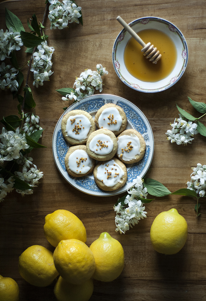 Spiced Honey Cookies with Lemon and Bee Pollen Icing