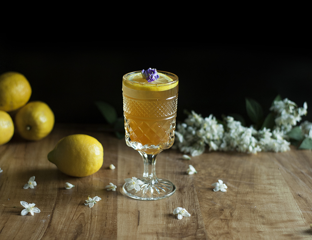 Chamomile and Bee Pollen Bourbon Tea with Spiced Honey Cookies