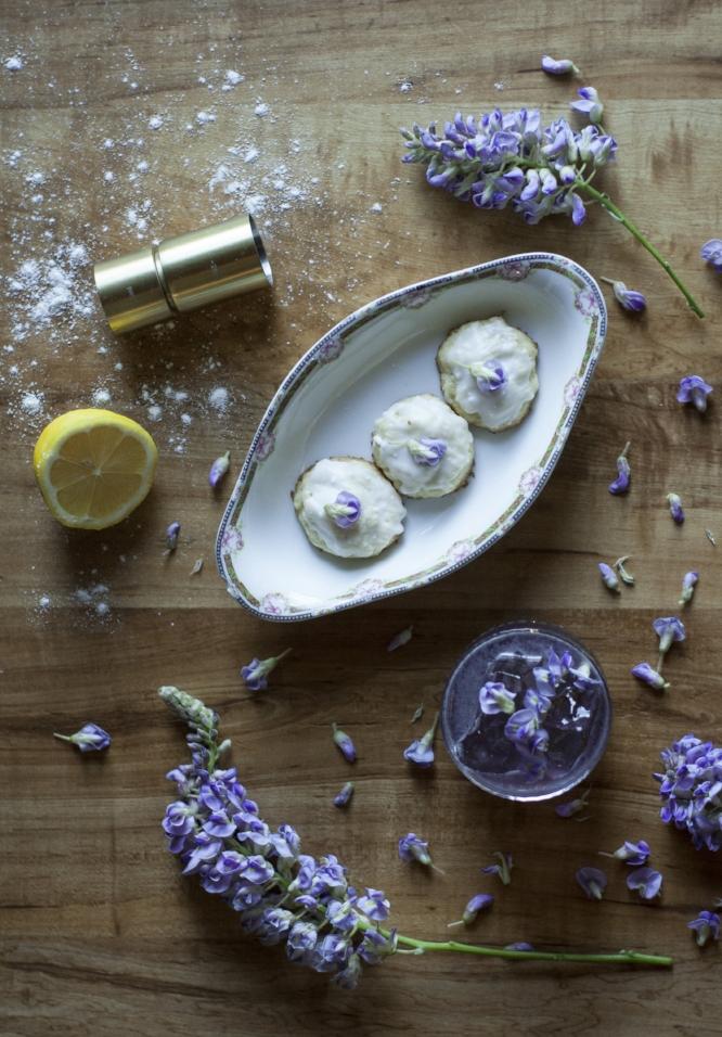 wisteria syrup recipe + wisteria scented lemon coconut cookies
