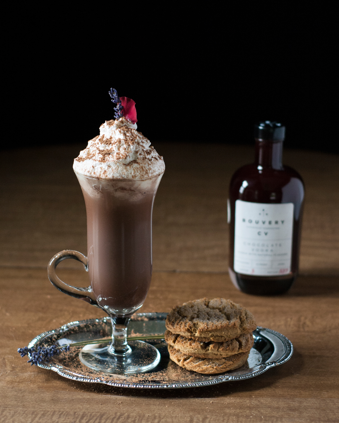 Ultimate Boozy Hot Cocoa with Lavender Whipped Cream featuring Bouvery CV Chocolate Liqeur.jpg