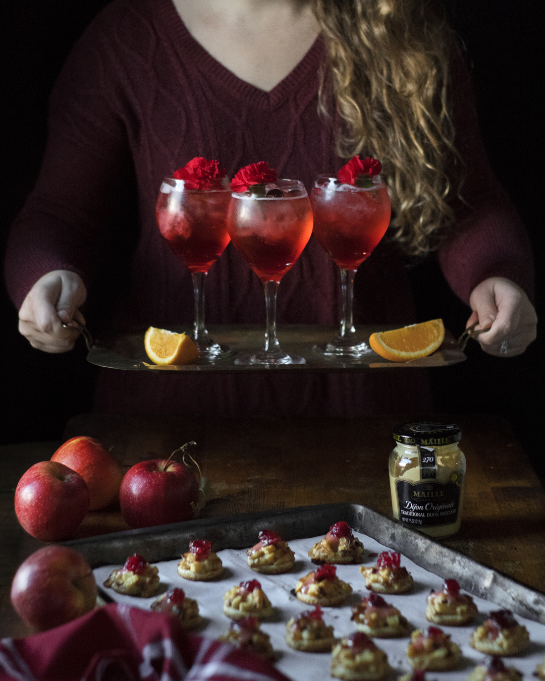 Sweet and savory hors d'oeuvres and cranberry campari spritzes