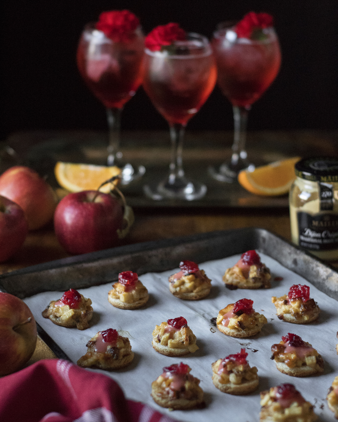 maille mustard hors d'oeuvres and campari cranberry spritzes