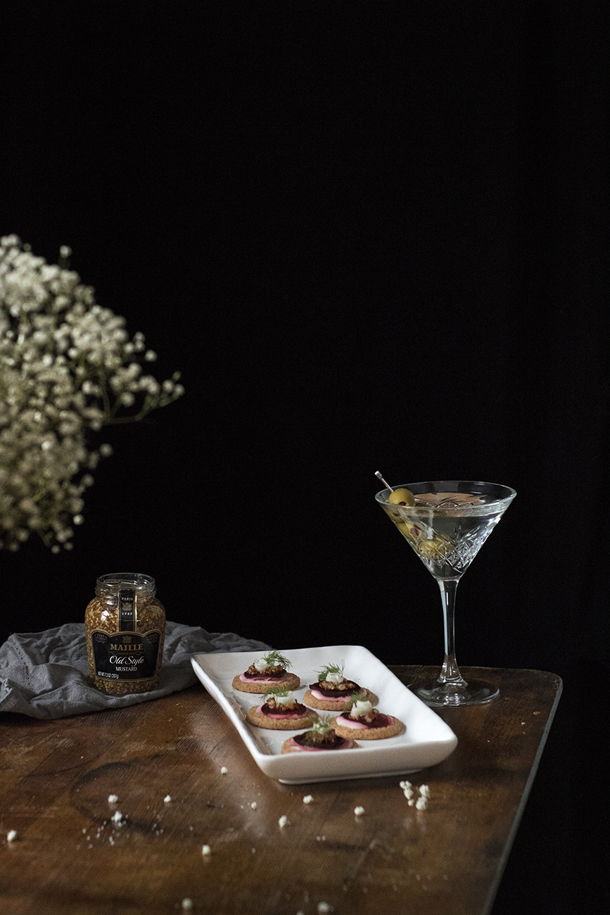 Beetroot, mustard and fennel hors d'oeuvres with perfect gin martinis