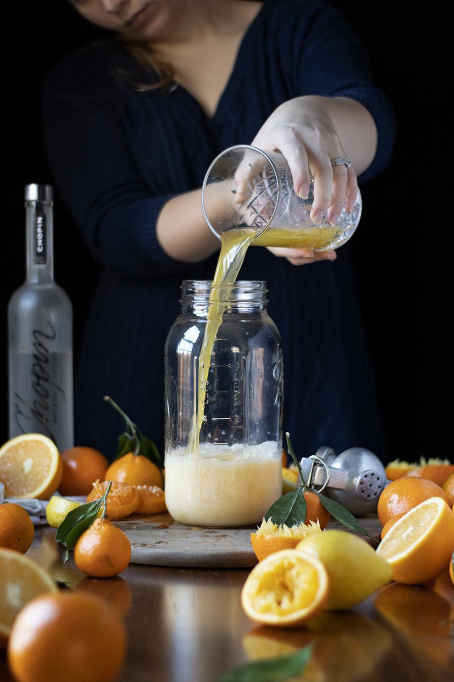 how to make a milk clarified screwdriver with satsuma mandarin juice