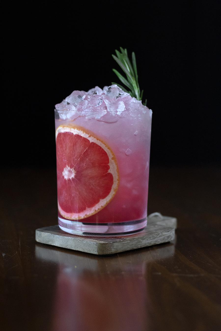 grapefruit and pomegranate vodka sour