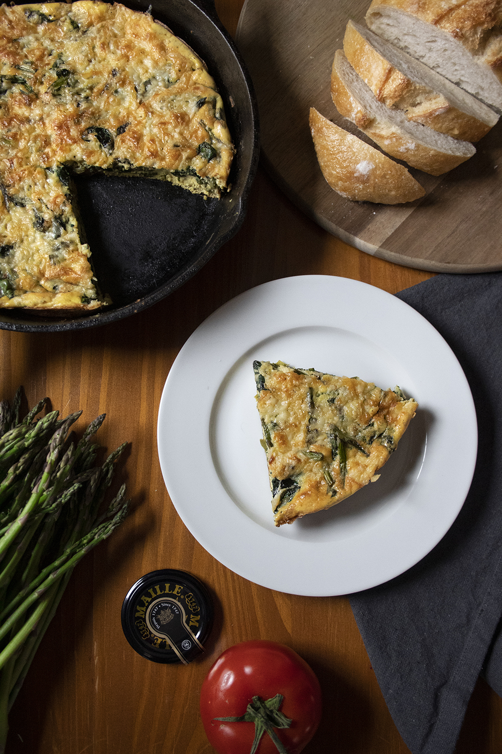 Maille Dijon Originale Asparagus Frittata and Red Snappers with Pickled Asparagus