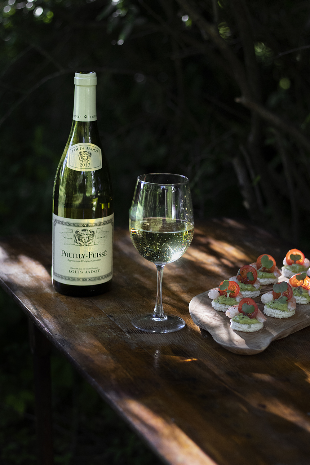 Pouilly-Fuisse with shrimp avocado canapes