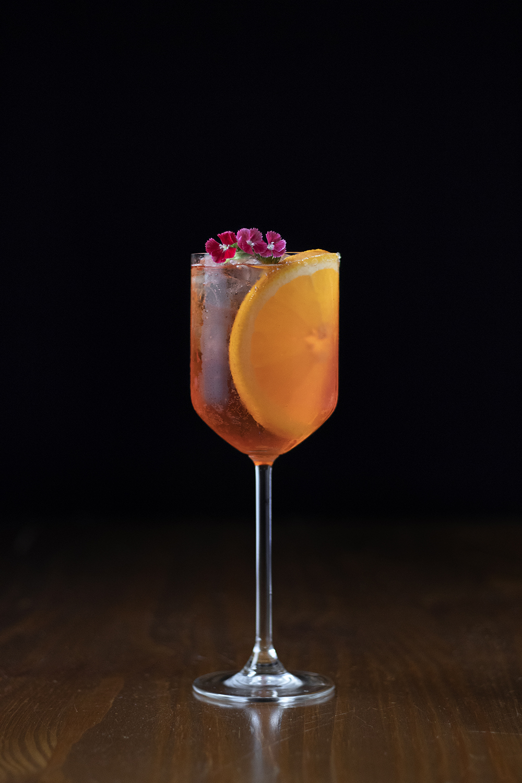 Rosé Kombucha Aperol Spritz by Amy Traynor / moody mixologist
