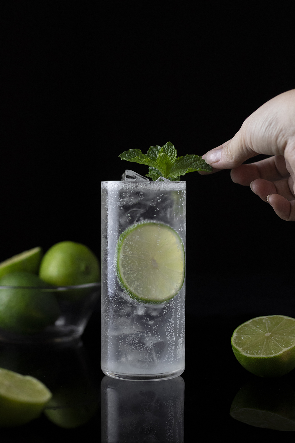 Gin Rickey cocktail with mint