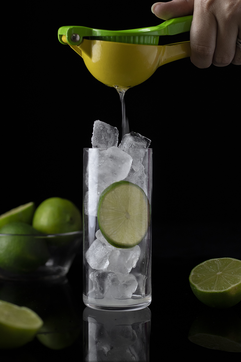 STEP TWO: Add gin and lime juice.