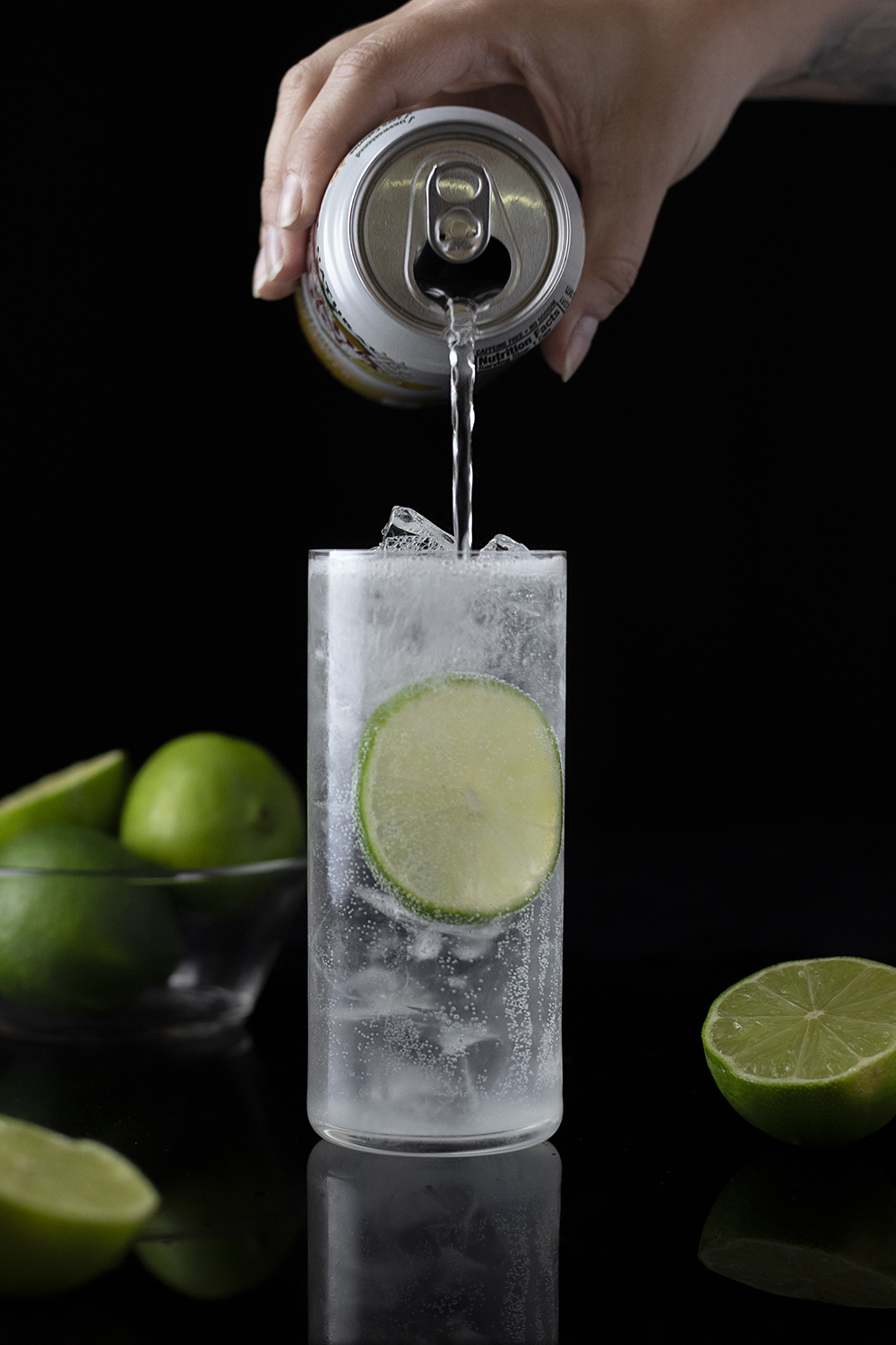 Classic Gin Rickey - step three, top with carbonated water
