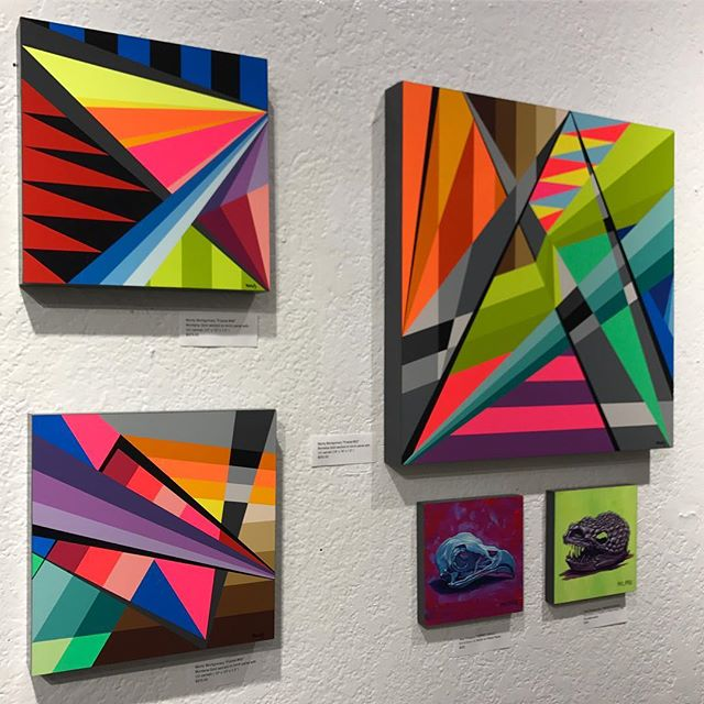 Right wall view of three @montymontgomery solo works and two @tony_philippou solo works from the #kaleidoskull exhibition at @redefinearts in @orlando . The first @kaleidoskullart exhibit opened in  March 2017 and the duo is currently working on new pieces for an upcoming exhibition in 2019!  Stay tuned for the launch of kaleidoskullart.com  #montymontgomery #tonyphilippou #redefinegallery #neofuturism #newcontemporaryart  #urbancontemporary #montanacans #neogeometric #sandiego #orlando