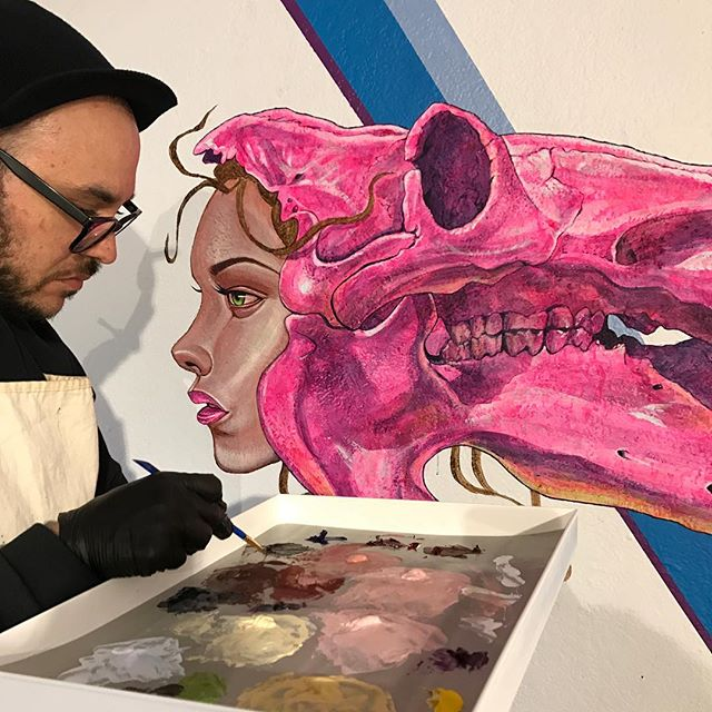 "@tony_philippou adding the @kaleidoskullart Hippo mural details in early March 2017 for the ""Kaleidoskull"" exhibition that opened on March 16, 2017 @redefinearts in @orlando • Check tonyphilippou.com to enjoy the ""Kaleidoskull"" section of his  gallery and visit the ""Kaleidoskull Project"" in the ""Portfolio"" section on montymontgomeryart.com @montymontgomery to view current works.  #kaleidoskull #montymontgomery #tonyphilippou #thinkspacefamily #newcontemporary #redefinegallery #urbancontemporary #neofuturism #contemporaryart #modernabstract #abstractart #muralism #montanacans #liquitex"