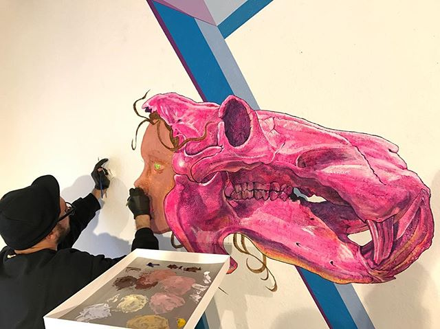 "@tony_philippou bringing the @kaleidoskullart Hippo mural to life in early March 2017 for the ""Kaleidoskull"" exhibition that opened on March 16, 2017 @redefinearts in @orlando • Visit the ""Kaleidoskull Project"" in the ""Portfolio"" section on montymontgomeryart.com @montymontgomery to view current works. 