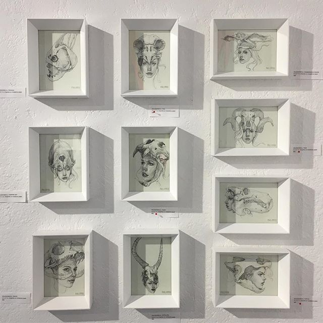 "WALL 1  Kaleidoskull study sketches 1-10 from the ""KALEIDOSKULL"" exhibit in Orlando, Florida this past March  @redefinearts  @montymontgomery @tony_philippou • #tonyphilippou #montymontgomery #drawing #sketch #study #skulls #kaleidoskull #framed #show #wall #exhibition #helmet #helm #piranha #ram #turtle #hammerheadshark #owl #antelope #snake #vampirebat #alligator #tiger"