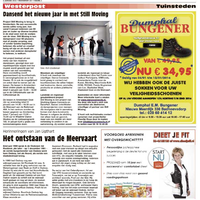 Publication of Still Moving in de  Westerpost