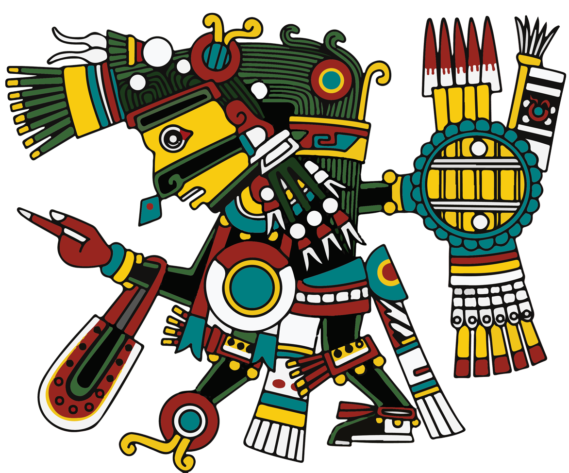 Tezcatlipoca - The symbol of memory, consciousness, reflection, and the spirit word. The resting place of ancestors who have passed.Quietud y reposo (quite peace) The direction of North.