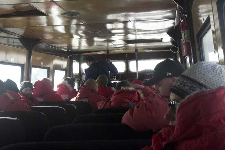 On the bus to McMurdo.
