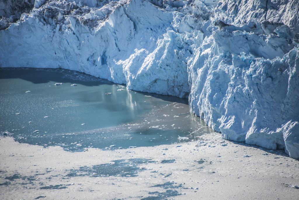 Above: Brown streams surging under the Northern Glacier