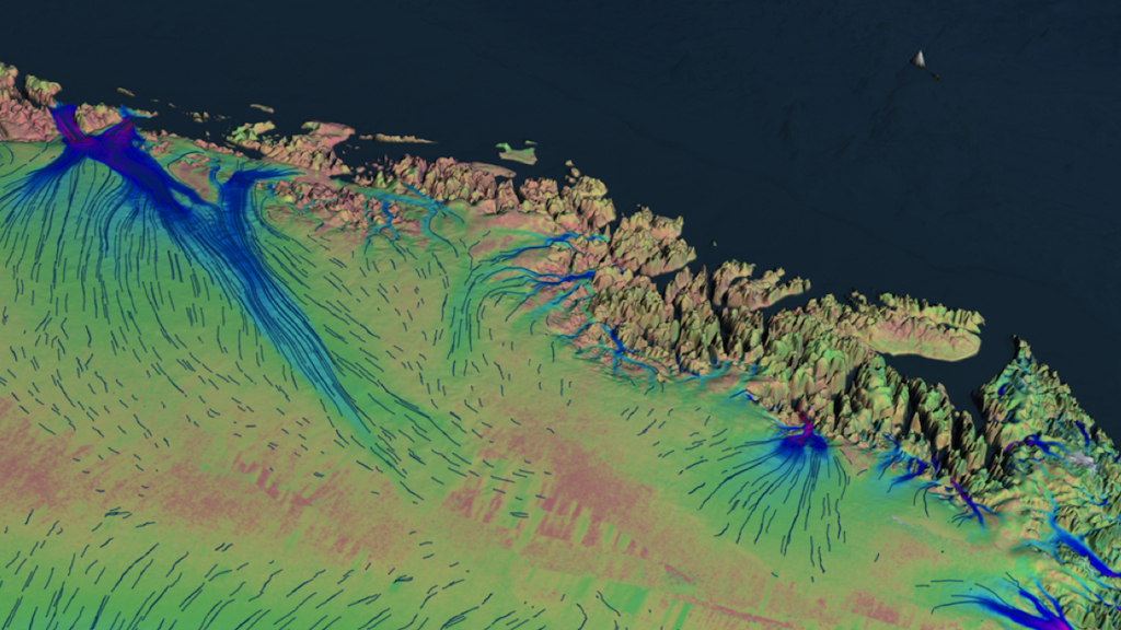 Credit:  MEaSUREs Greenland Ice Sheet Velocity Map from InSAR Data, Version 2