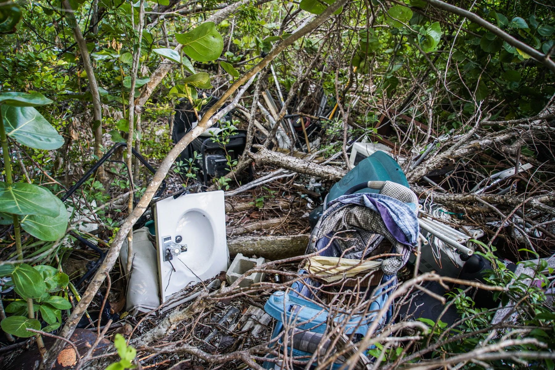While walking around his property I noticed a baby stroller, a sink, boxes and other items still tucked into the mangroves.