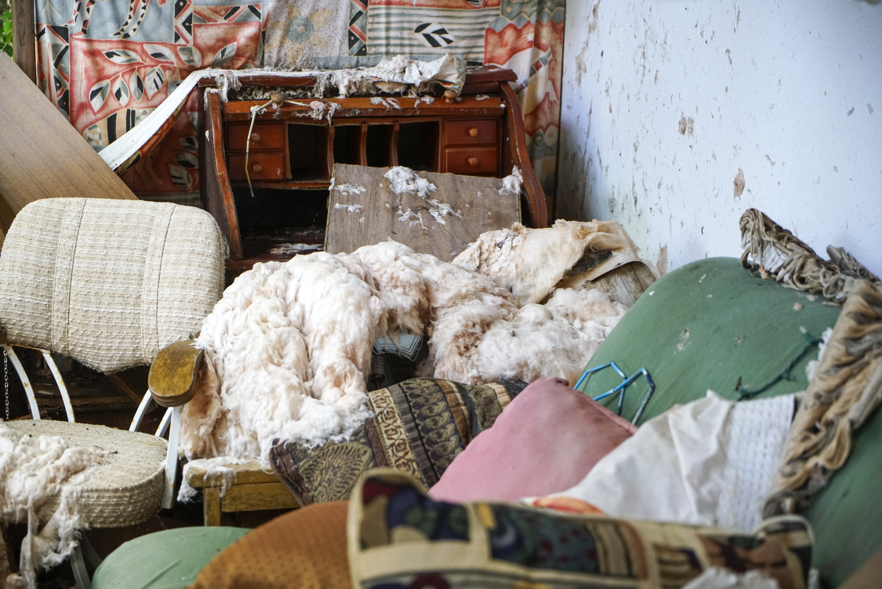The small guesthouse on the property remained untouched. Insulation was ripped from the walls and water-soaked furniture remained.