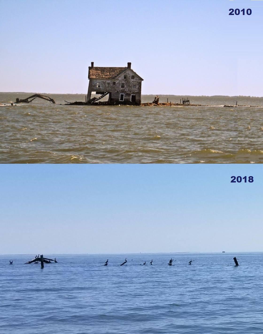 Last house on Holland Island 2010 vs. 2018  Image courtesy David Pietroski.