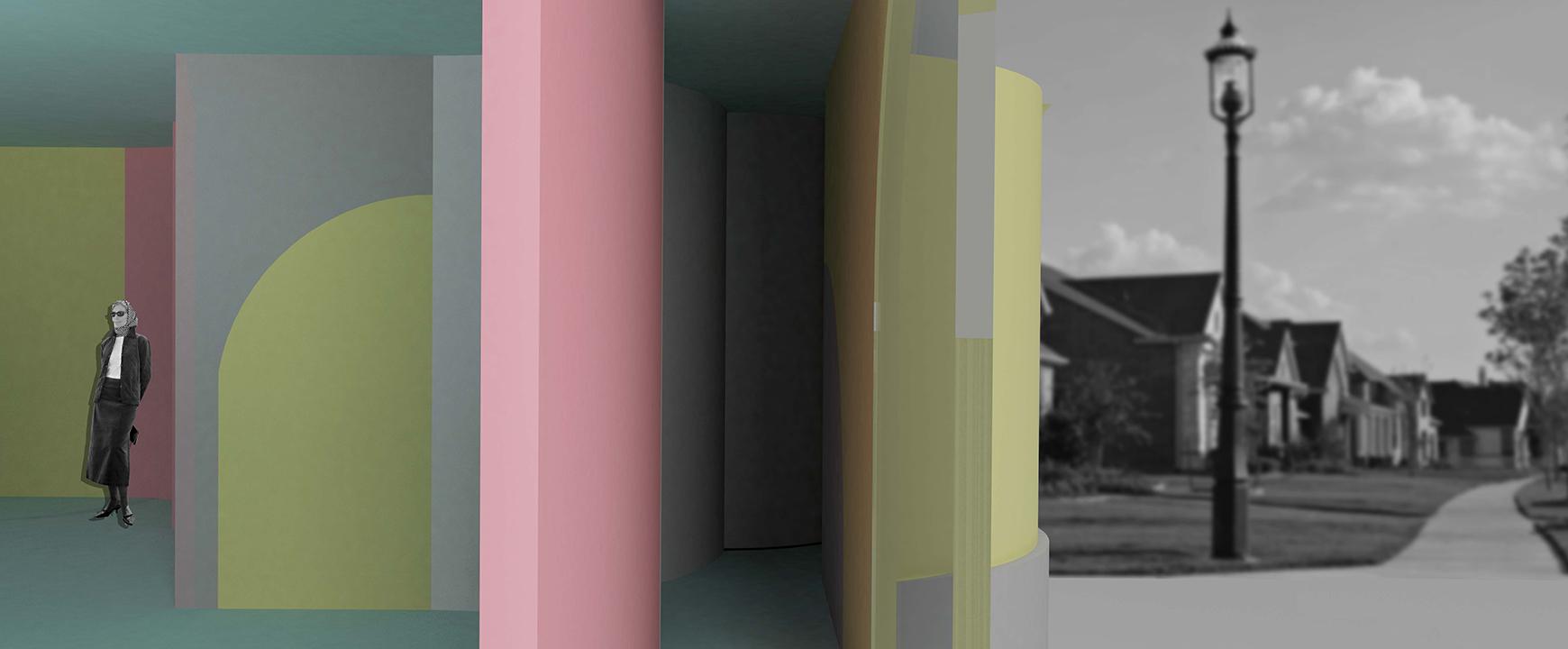 Sectional view, a room, a hidden passage.
