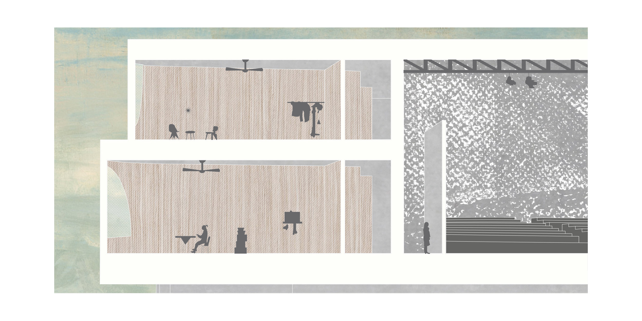 Sectional renderings through double loaded corridors: East-facing practice rooms and Studio Theater