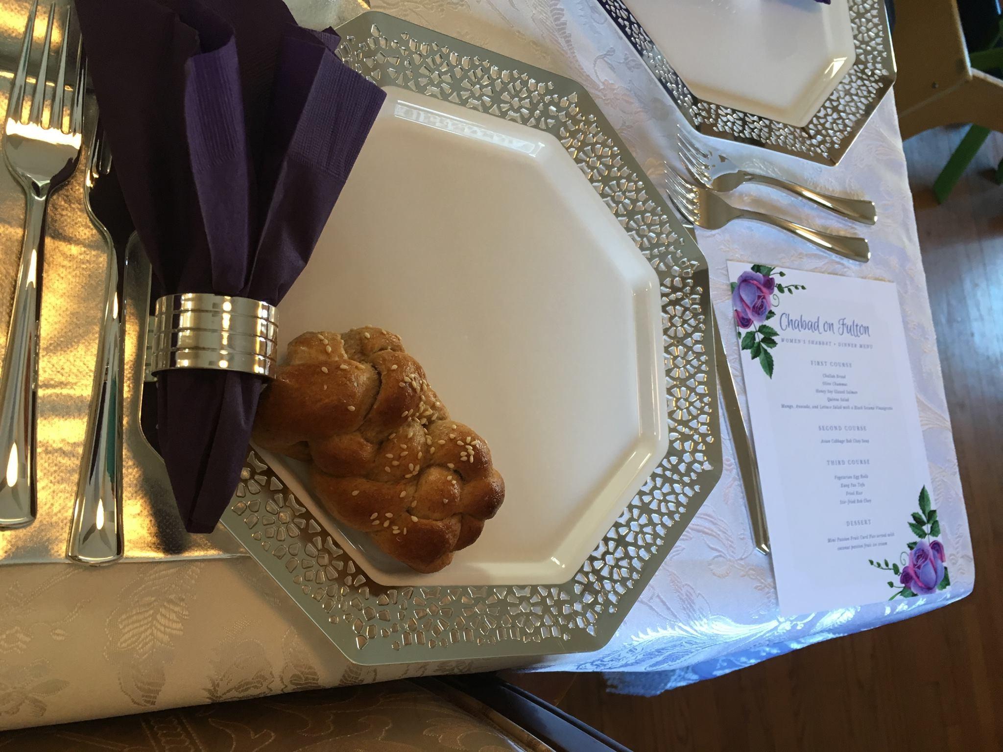 Women's only Shabbat Dinner setting