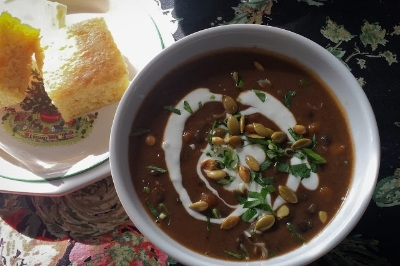 Black Bean and Butternut Squash Soup with Chorizo - Get the Recipe