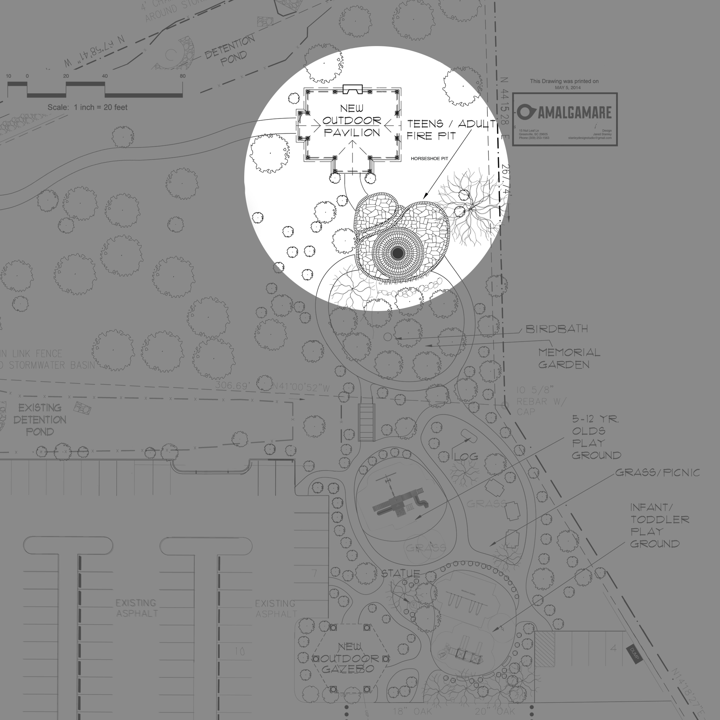 NEXT PHASE - For the next phase of the park*, we propose to hardscape the Teen/Adult firepit area to make it more stable and handicap accessible, build a new outdoor pavilion with running water and electricity, and expand our nature trails by cutting down surrounding small brush.