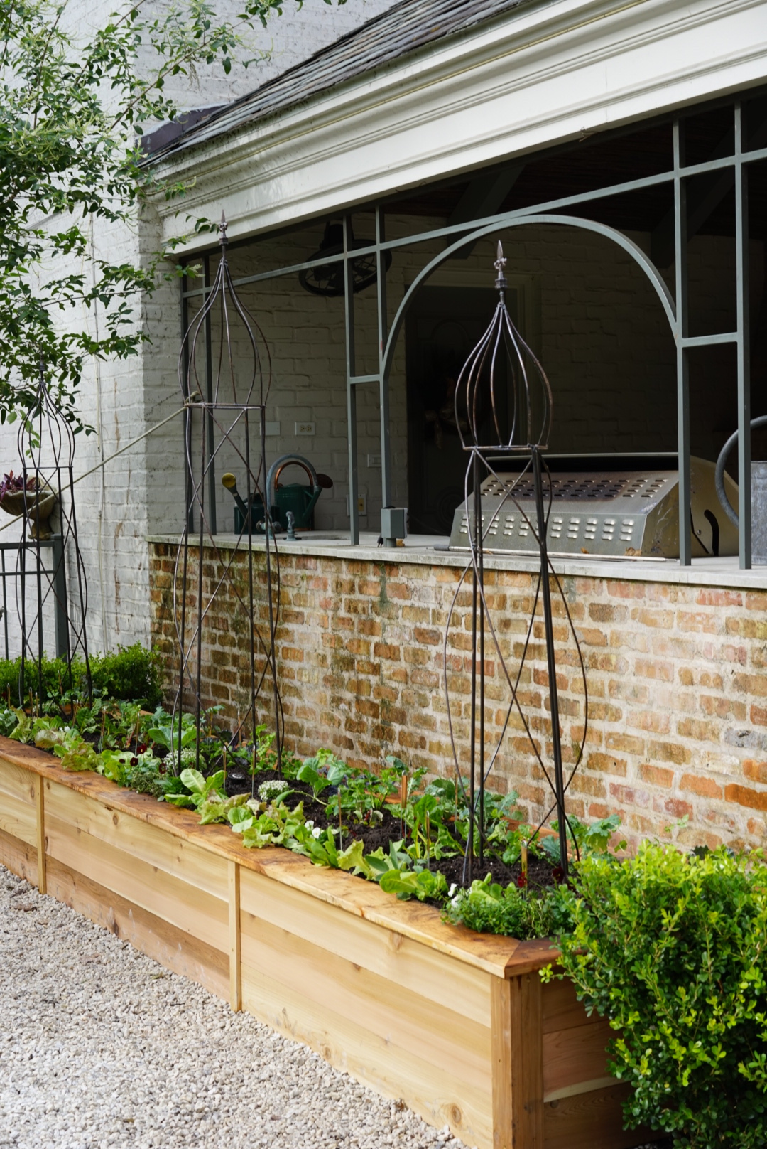 Kitchen garden near an outdoor kitchen
