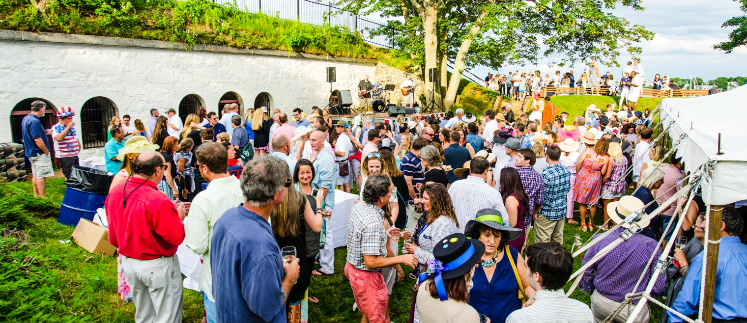 The Champagne Reception is a festive event that kicks off the summer Marblehead Festival of Arts. Held at historic Fort Sewall, refreshments are served under a tent, with tastings provided by many fine restaurants and caterers. Guests sip champagne while enjoying live music and splendid views of Marblehead Harbor. Attending this important fundraiser is an enjoyable way to meet other Festival supporters while sampling the delights of local food establishments.