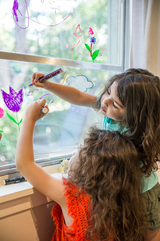 """""""Are your little Clean Freaks ready to help out? Let them draw on windows with erasable markers, then have them clean it off with our safe, effective Glass + Surface Cleaner for a streak-free shine."""""""