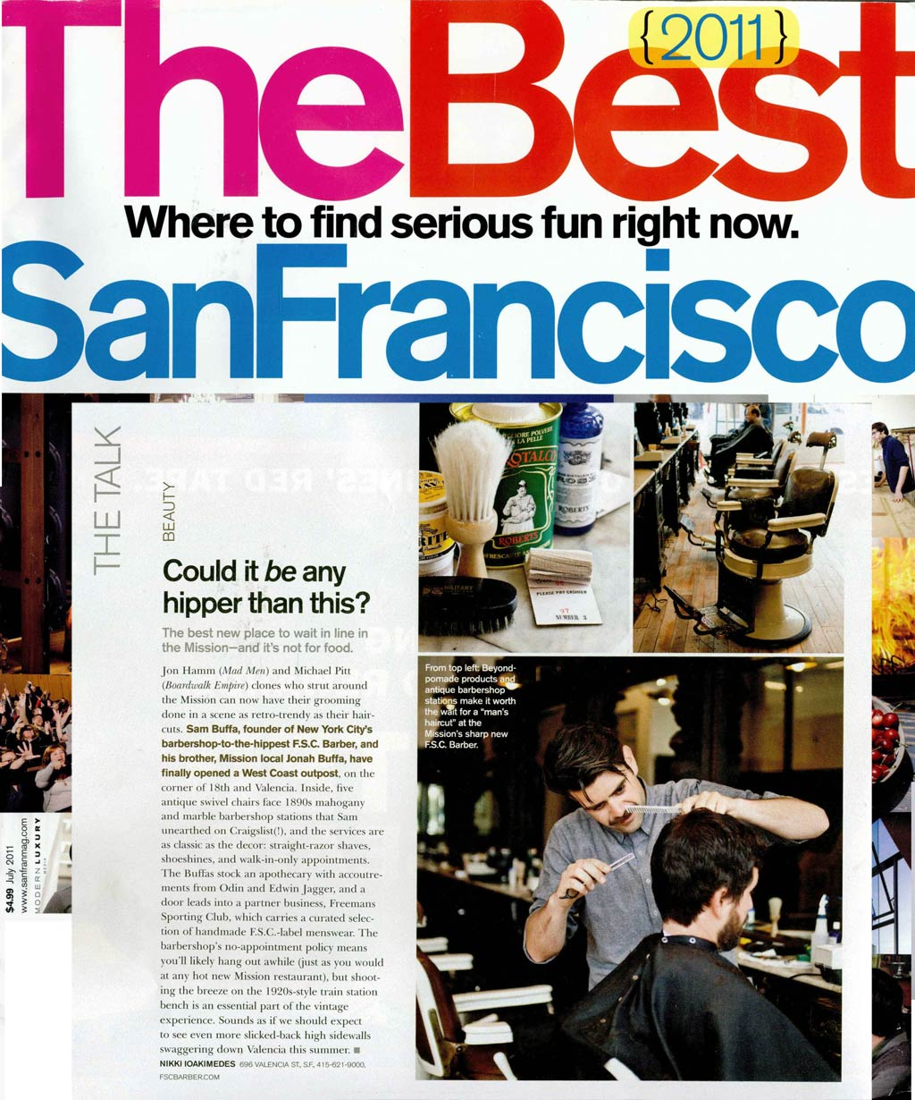 San Francisco Magazine - 2011Featured: Fellow BarberView PDF