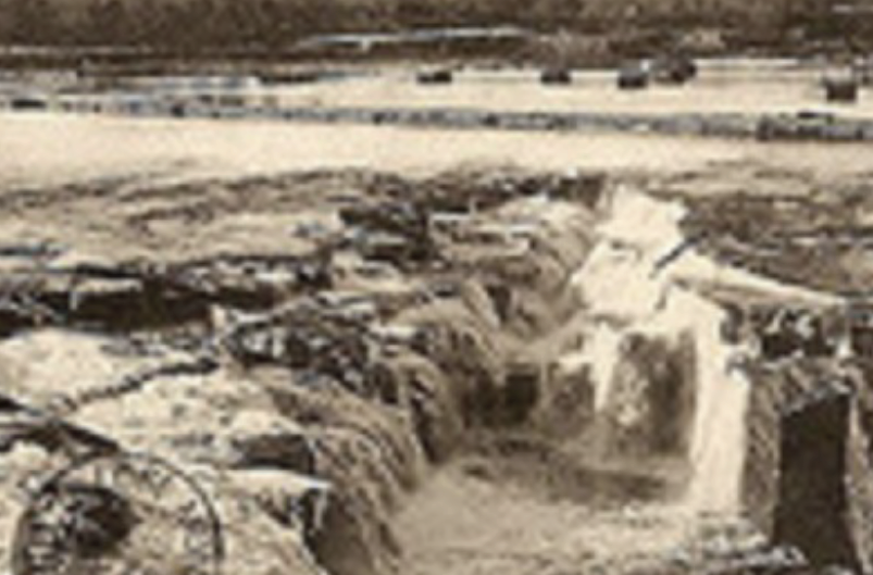 This photo shows falls before the dam was built to power industry in 1908.
