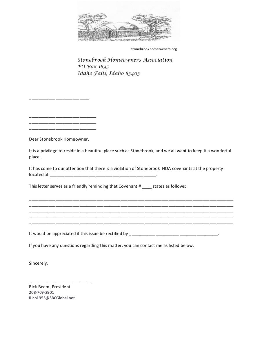 Newsletter — Stonebrook HOA