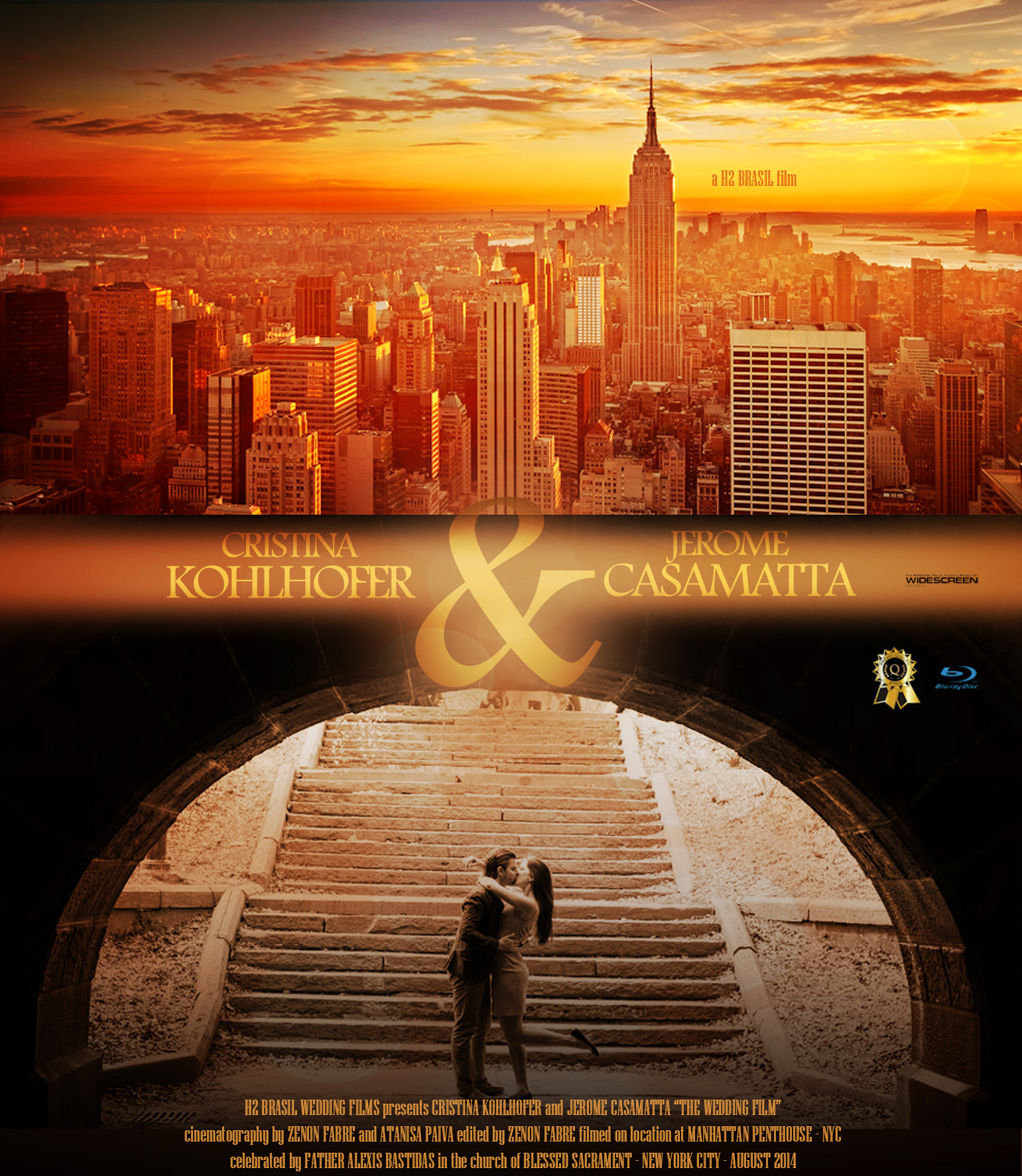 "Manhattan - H2 WEDDING FILMS presents CRISTINA KOHLHOFER and JEROME CASAMATTA ""THE WEDDING FILM"" cinematography by ZENON FABRE and ATANISA PAIVA edited by ZENON FABRE filmed on location at MANHATTAN PENTHOUSE - NYC celebrated by FATHER ALEXIS BASTIDAS in the church of BLESSED SACRAMENT - NEW YORK CITY"