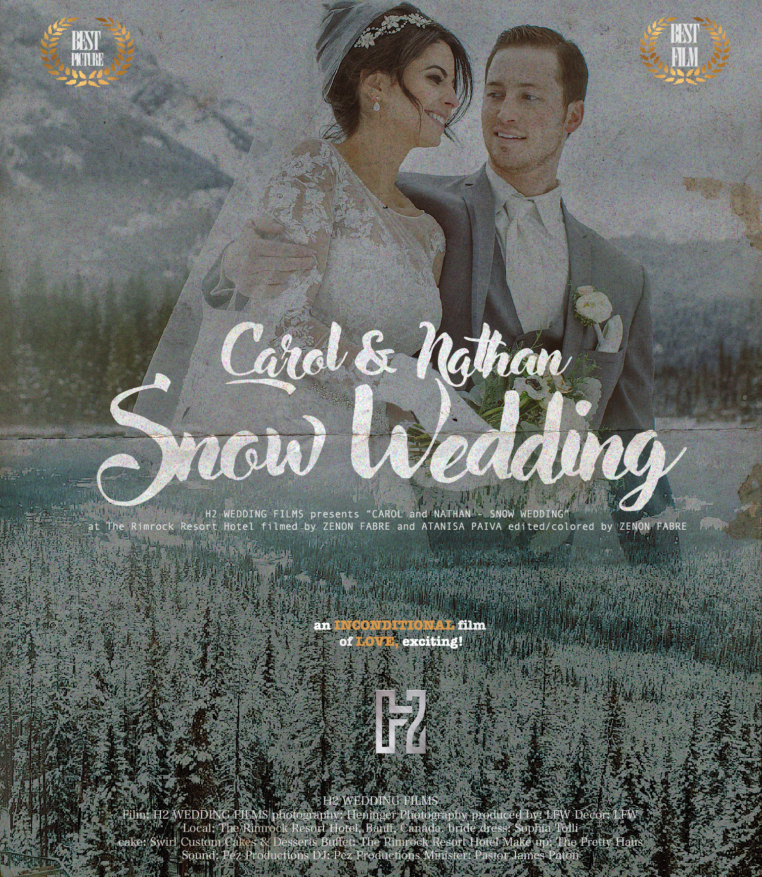 "The Rimrock| Banff|Canada - H2 WEDDING FILMS presents CAROLINA SKEPIS and NATHAN JONES in ""THE WEDDING FILM"" cinematography by ZENON FABRE and ATANISA PAIVA photography by HENINGER PHOTOGRAPHY produced by: LFW Decor: LFW bride dress: SOPHIA TOLLI cake: SWIRL CUSTOM CAKES & DESSERTS Buffet: The Rimrock Resort Hotel Make up: THE PRETTY HAUS Sound and DJ: PEZ PRODUCTIONS Minister: JAMES PATON  directed and edited by ZENON FABRE filmed on location at THE RIMROCK RESORT HOTEL - BANFF, CANADA"