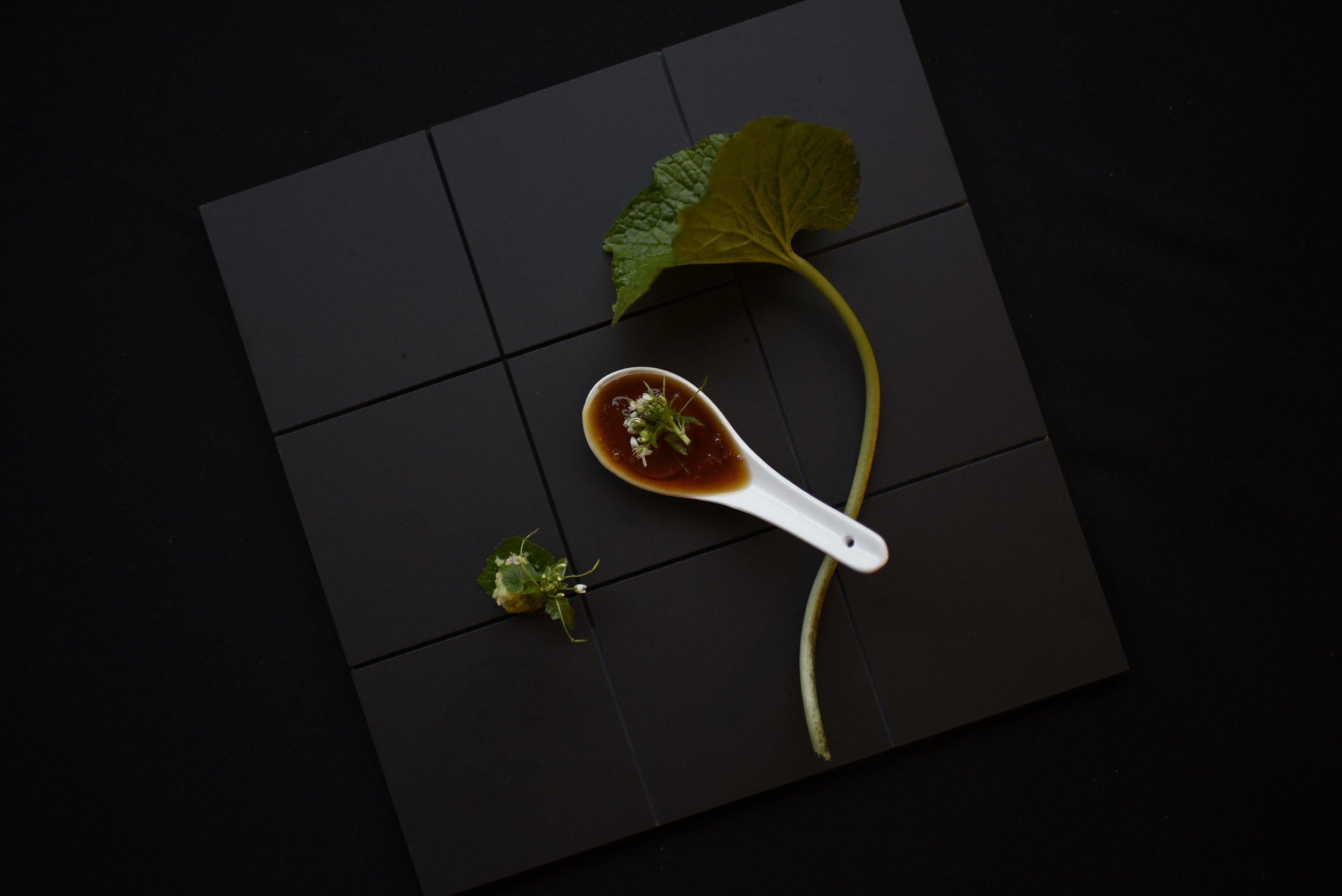 Fresh Wasabi, the Flower & the Leaf.