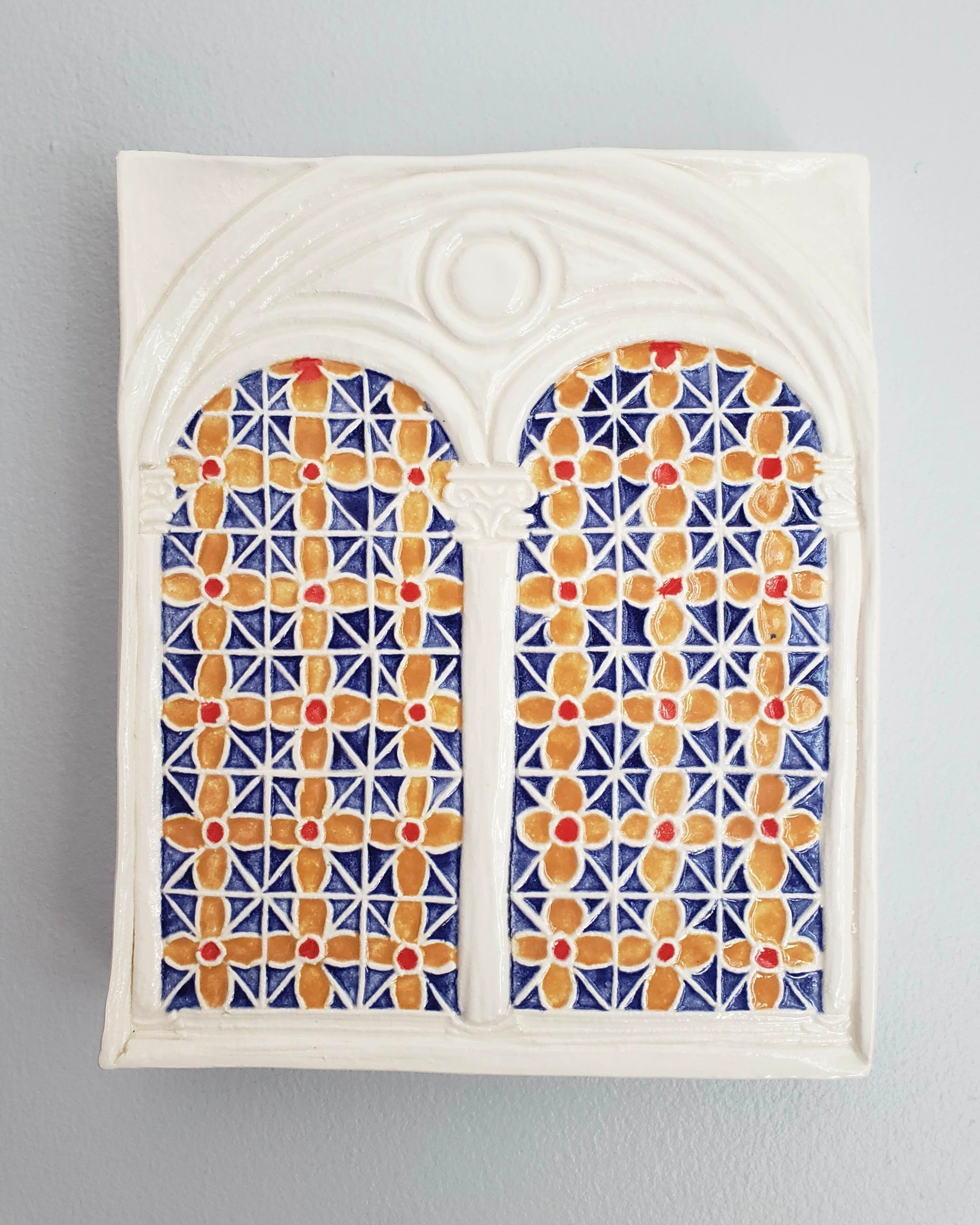 Window to Rome,  an h.made tile inspired by the stained glass windows of my favorite place to stay in Rome, Italy.