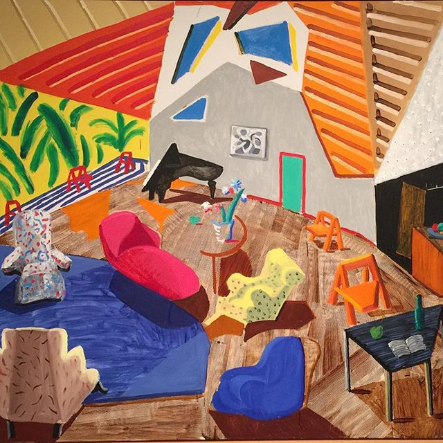 Need a winter pick me up? The David Hockney show at the Met will do it! Detail of the masterpiece Large Interior, LA. #met#hockney #color#masterpiece#cubism#newyorkart#uppereastside