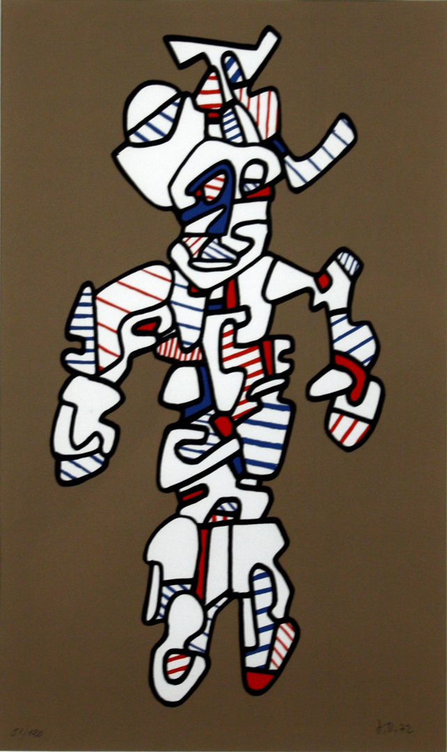 Jean Dubuffet, Le Surintendant, 1972, Silkscreen in colors on heavy wove paper, Signed J.D. 72 in pencil lower right, 20 x 12 inches, 29.5 x 21.74 inches, Edition of 120, Published by Jean Bucher and Pace Editions, New York.