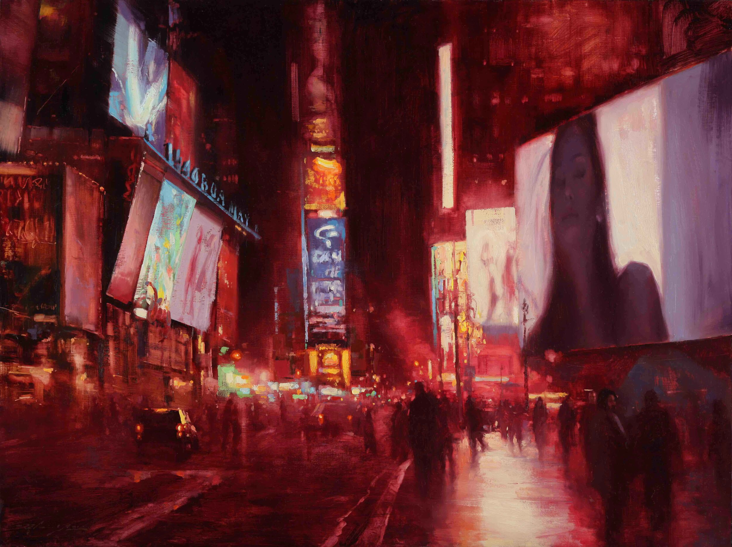 Times Square Red Night
