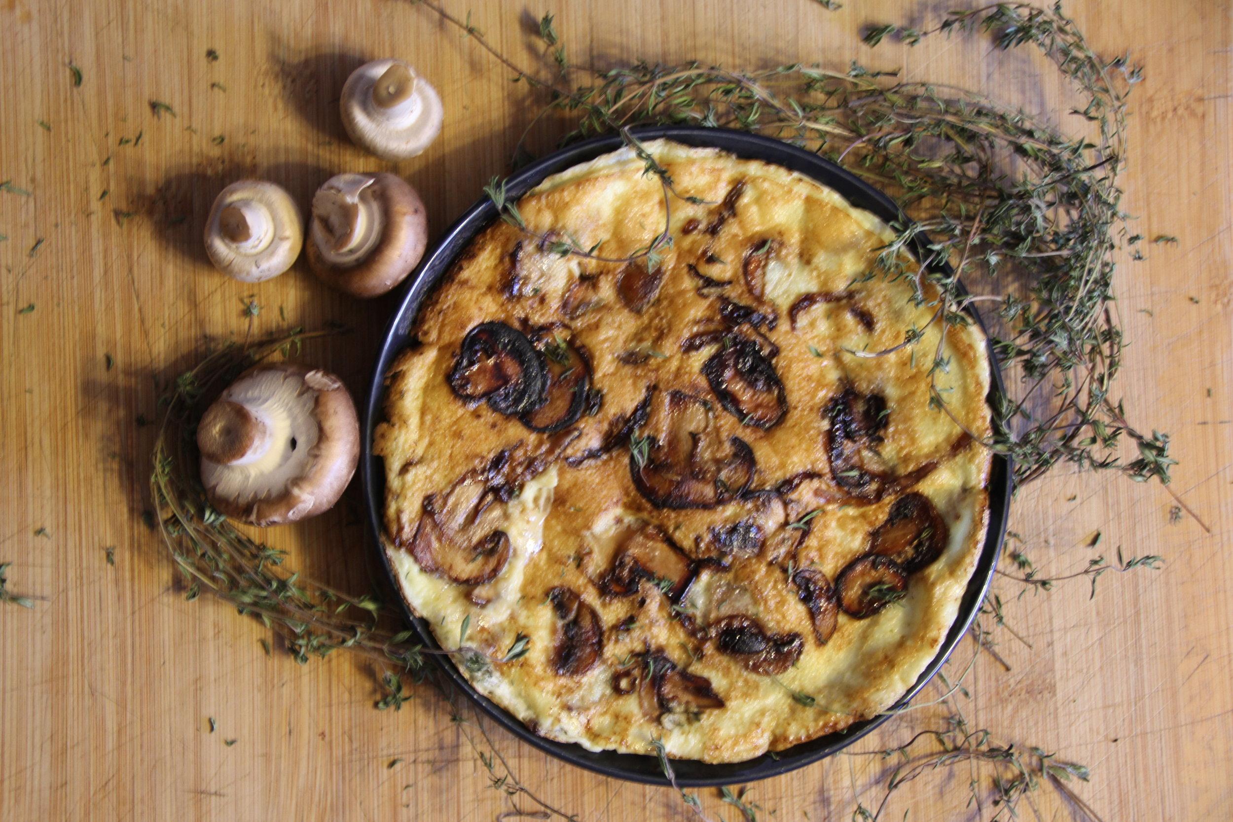 Caramelised Onion and Mushroom Omelete -
