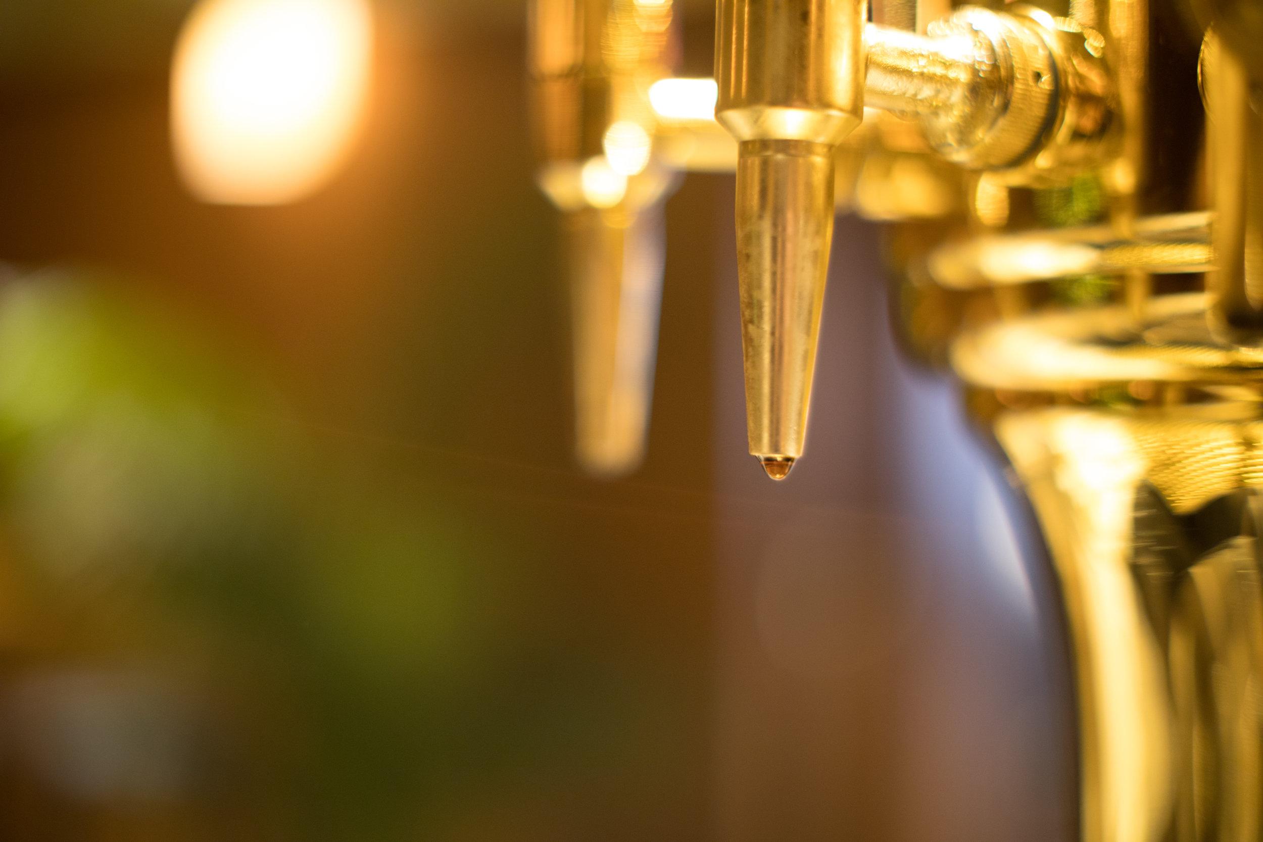 Shining beer drafts at Bubo NYC.