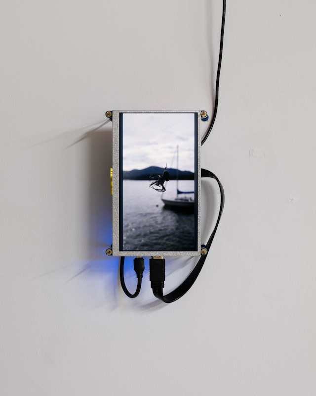 Barb Smith  Spider (like water) , 2018 Raspberry Pi, plexiglass, steel, anchors, digital video loop