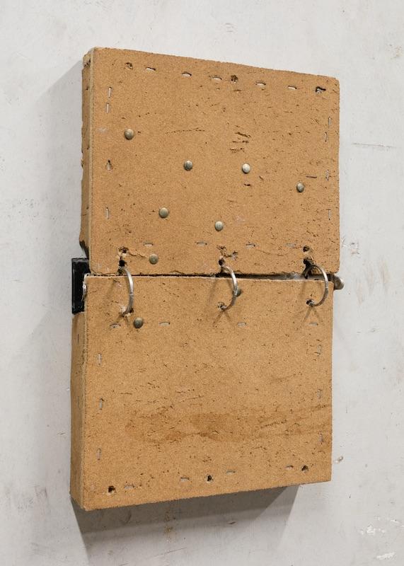 Chris Zacher  Calendar with thumbtacks , 2018 Bulletin board, thumbtacks, three-ring binder, wood and hardware 11.5 x 17 x 2 inches