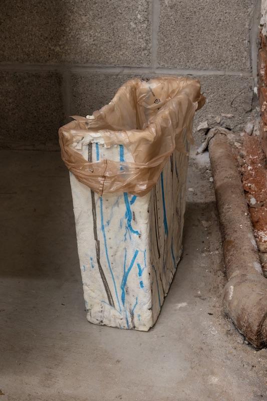 Chris Zacher  Wastepaper basket , 2018 Papier-mâché, shopping bag and duct tape 12 x 12 x 6 inches